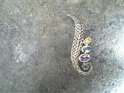 Purple Stone Silver-Stone Brooch 925 Silver 3.6dwt